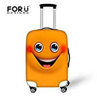 [FOR U DESIGNS]個性的な柄 伸縮素材 Spandex  スーツケースカバー ラゲッジカバー luggage cover 旅行カバンカバー トランクカバー Sサイズ イエローオークル