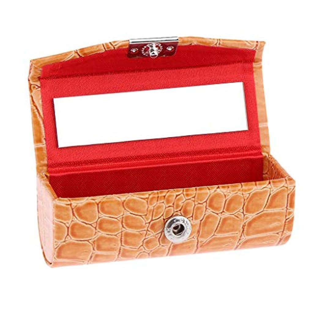 の面では扱うおしゃれじゃないIPOTCH レザー リップスティックケース 口紅ホルダー ミラー 収納ボックス 多色選べ - オレンジ