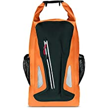 BELK Waterproof Rafting Backpack Compressive Dry Bag Beach Swimming Wet Clothes Holder Knapsack with Pockets 25L