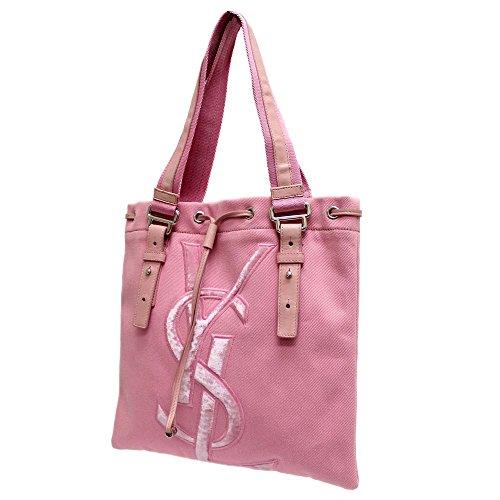 イヴ・サンローラン YVES SAINT LAURENT ロゴ カハラ 123435 トートバッグ ピンク レディース キャンバス レザー [中古]
