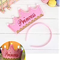 HuaQingPiJu-JP プリンスクラウンケーキLEDグローフープドレス帽子誕生日パーティー用品(ピンク、プリンセス)