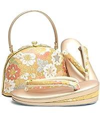 [ 京都きもの町 ] 礼装 草履バッグセット ゴールド 鉄線 Lサイズ 2の3枚芯 フォーマル 和装