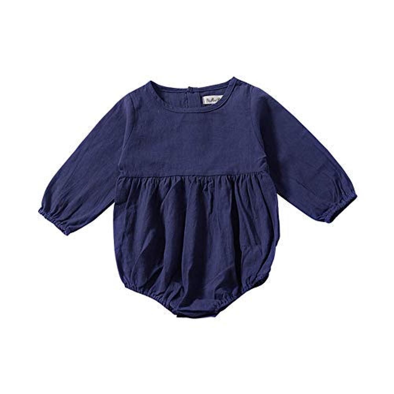 qighaima ベビー服 ロンパース 女の子 長袖 新生児サイズ 無地 シンプル 綿 カバーオール 赤ちゃん服 春秋 (100)100