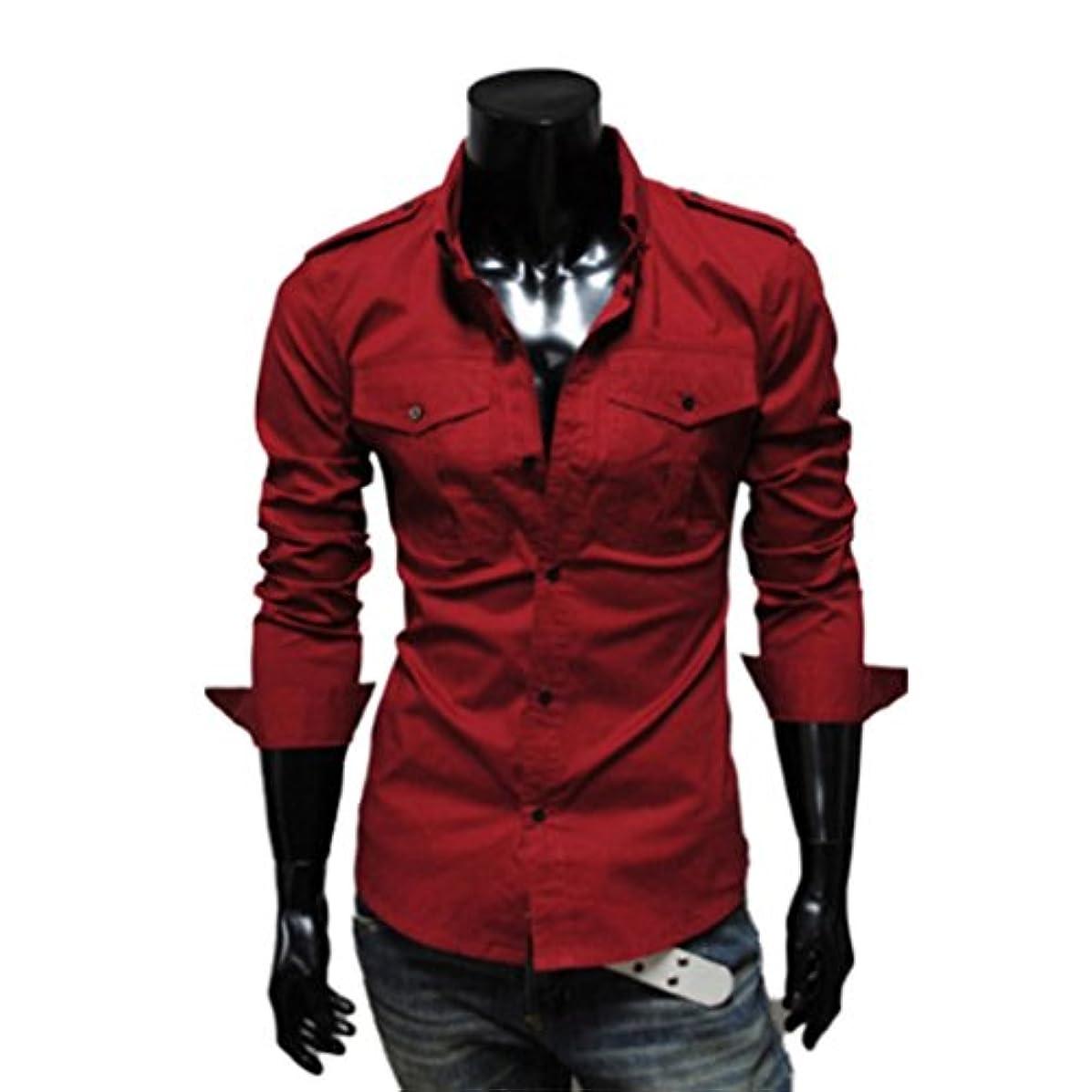 くさびぬいぐるみ詩人Honghu メンズ シャツ 長袖 ポケット カジュアル レッド XL 1PC