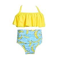 水着 女の子 上下セット 女児水着 フリル 花柄 可愛い 子供 水着 おしゃれ 可愛い 海辺 温泉 記念写真 (104, イエロー)