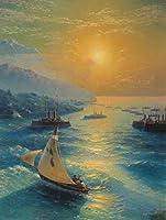 手書き-キャンバスの油絵 - 美術大学の先生直筆 - Ivan Aivazovsky ships at the feodosiya raid シービューペインティング RSSP1 絵画 洋画 複製画 -サイズ04