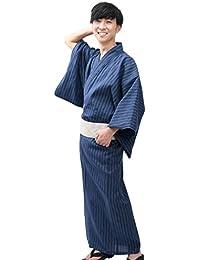 [江戸てん] メンズ浴衣2点セット 浴衣・ワンタッチ帯 涼しいしじら織り 綿100% 簡単着付け