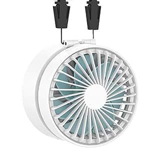 EasyAcc USB扇風機 首掛け扇風機 携帯扇風機 折り畳み式 2600mAhバッテリー 角度調節可能 携帯&卓上両用 両手解放 ミニファン 超静音 超強力 手のひらサイズ mini 小型 3段階調節 暑さ対策 BBQ アウトドア 15時間連続使用 ストラップ付き 2年保証 ホワイト