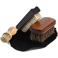 靴磨き ブラシセット 馬毛ブラシ 豚毛ブラシ 天然 ムートン グローブ ペネトレイトブラシ 3本 セット 収納用麻袋付 FOOTSTEPS