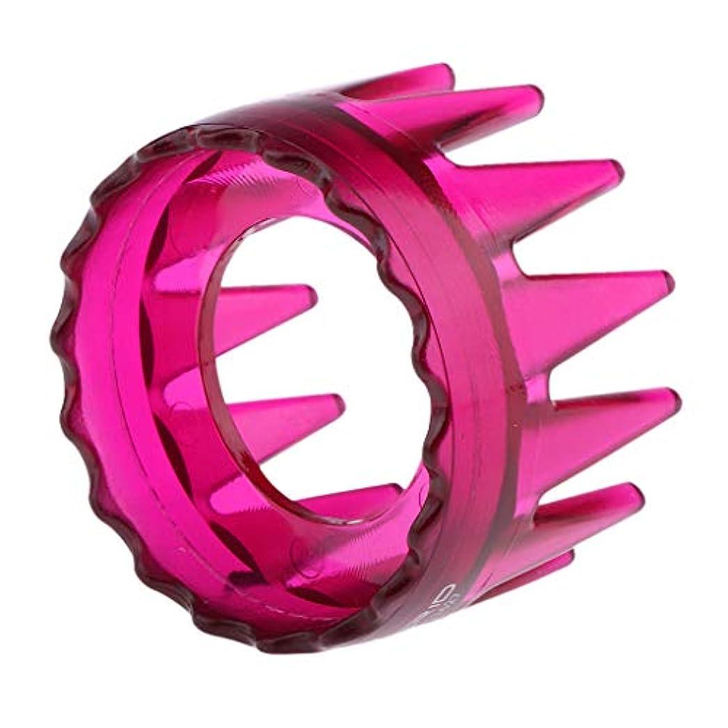 トリップ韻反射プラスチック製 シャンプーブラシ 洗髪櫛 マッサージャー ヘアコーム ヘアブラシ 直径約6cm 全4色 - ローズレッド