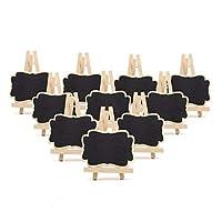 Jowneel 10セットミニ黒板小さな黒板メモメッセージカード付き木製フレームイーゼル用ウェディングパーティーイベント装飾(小)