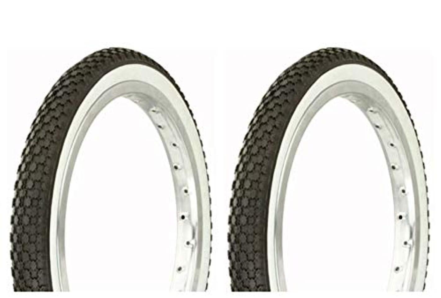 コンパニオンクリケット認知Lowrider タイヤセット 2タイヤ 2タイヤ デュロ 16インチ x 1.75インチ ブラック/ホワイト サイドウォール HF-146 自転車タイヤ 自転車タイヤ キッズバイクタイヤ 自転車タイヤ BMXバイクタイヤ