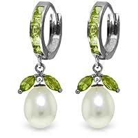 14Kホワイトゴールドペリドットイヤリングwith Pearls