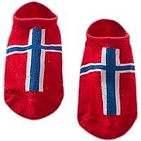 【ノルウェーの旗]ベビー用の2枚組ファッションコットンアンチスリップアンクルソックス、0-2歳
