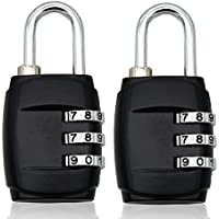 MIONI(2 PCS) Padlock 3 Digit Set Your Own Combo Combination Metal Lock for Travel Luggage and Suitcases Silver