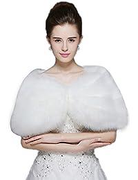 (リッチココ)richcoco レディースボレロ ショール ドレス 成人式 ストール ケープ 結婚式 着物 和装 成人フェイクファー ファッション パーティー 可愛い ソフトな肌触り ホウイト
