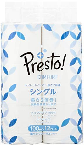 [Amazonブランド]Presto Comfort トイレットペーパー 長さ2倍巻 100mx2ロール シングル (12ロールで24ロール分)