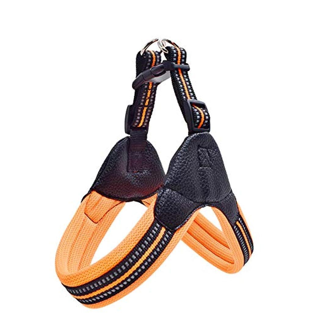 み発表好戦的なPETLESO 犬 ハーネス 首輪 中型犬 猫 散歩 サイズ M オレンジ