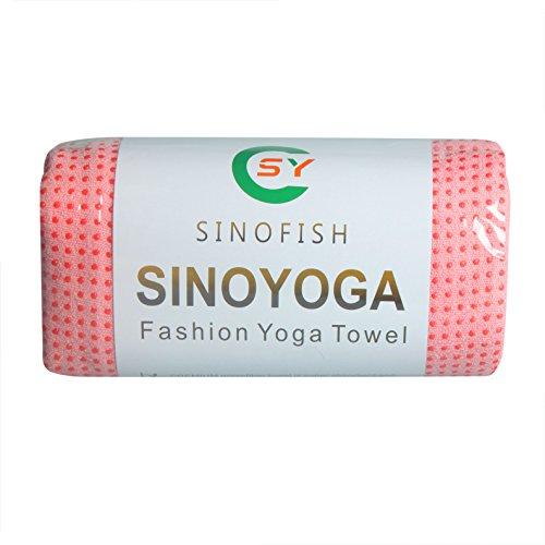 SinoFish ヨガタオル 183CM*63CM PVC 水玉速乾 超微細繊維 ヨガマット ヨガラグ(pink)