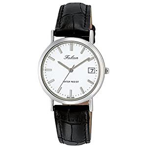 [シチズン キューアンドキュー]CITIZEN Q&Q 腕時計 Falcon ファルコン アナログ 革ベルト 日付 表示 ホワイト D021-301 レディース