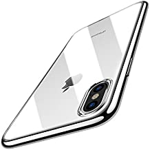 TOZO for iPhone X Case, Crystal Clear Soft TPU Gel Skin Ultra-Thin [Slim Fit] Transparent Flexible Premium Cover [Wireless Charger Compatible] for iPhone 10 / X [Space Silver Plating Edge]