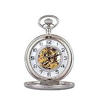 WOLFTEETH 機械式 手巻き 懐中時計 チェーン付き 3114 シルバー
