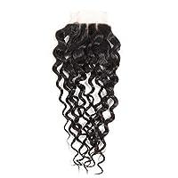 ウィッグ 女性用 閉鎖水波のバージンの人間の毛髪4 * 4インチのレースの閉鎖ブラジルの自然な波の毛 良質 (色 : 黒, サイズ : 12 inch)