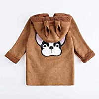 Children Girl Coat Button Closure Hooded Jacket Suede Fabric Outerwear Coat BabyProducts