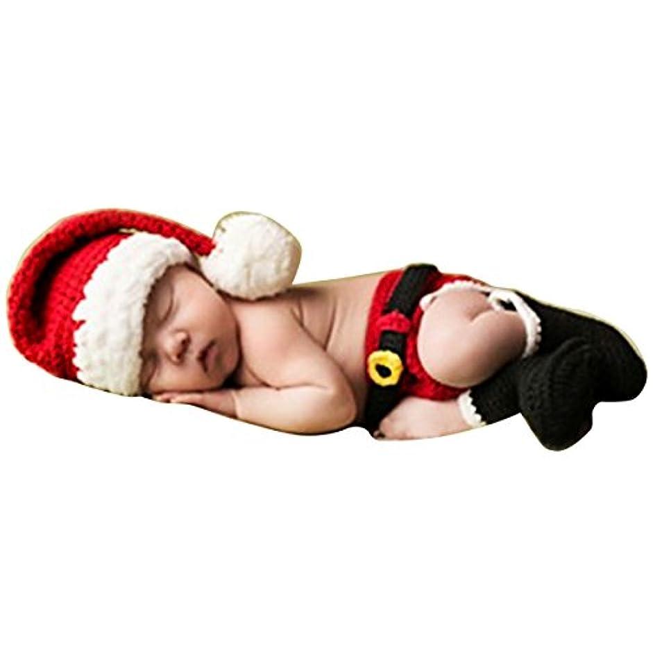 着実に履歴書予定可愛いベビーサンタコスチューム 寝相アート マーメイド 衣装 クリスマス衣装 着ぐるみ手編み感 ベビー服 子供用 男の子 女の子 帽子付き (サンタ1~6月)