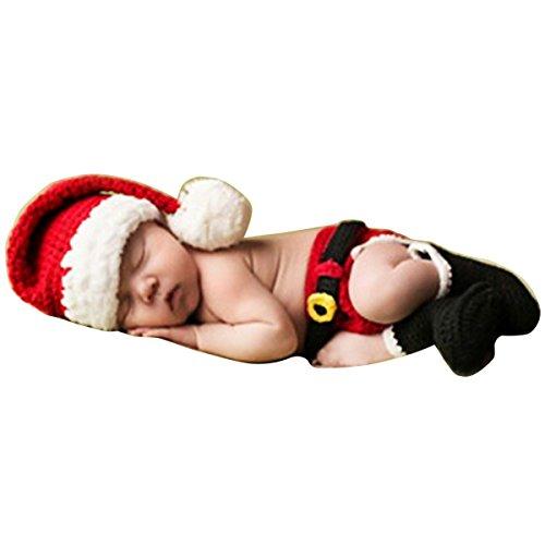 可愛いベビーサンタコスチューム 寝相アート マーメイド 衣装 クリスマス衣装 着ぐるみ手編み感 ベビー服 子供用 男の子 女の子 帽子付き (サンタ1~6月)