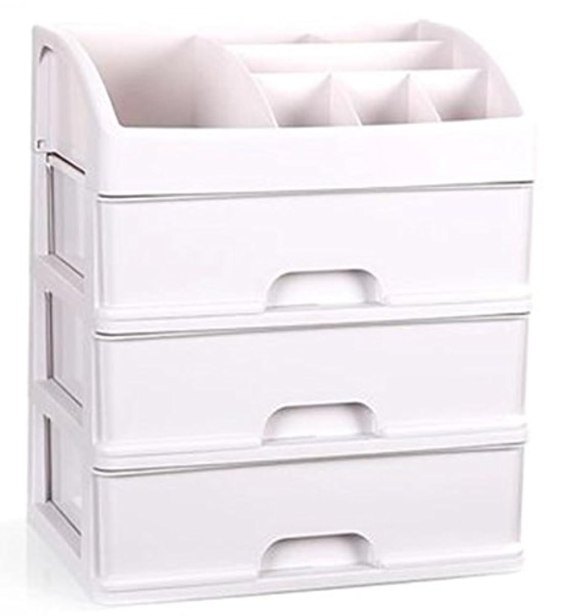 ZUOMAメークボックス 化粧品収納ボックス コスメスタンド 引き出し式 メークケース 小物/化粧品入れ コスメ収納 透明アクリル 大容量 (ホワイト34*25*40CM(3層))