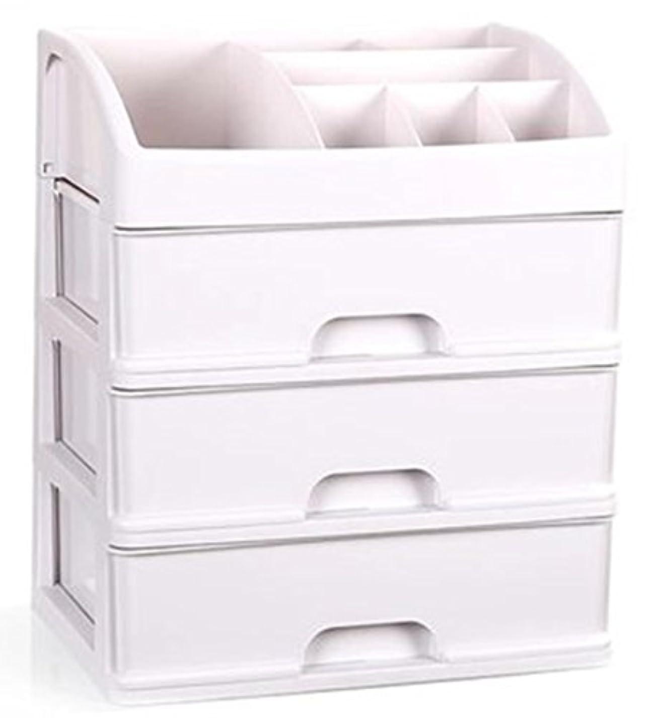 羊核オーバーランZUOMAメークボックス 化粧品収納ボックス コスメスタンド 引き出し式 メークケース 小物/化粧品入れ コスメ収納 透明アクリル 大容量 (ホワイト34*25*40CM(3層))