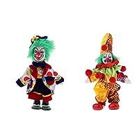 B Blesiya 全2個 磁器ドール ハレクイン 18cm ピエロ人形 クリスマス装飾 飾り 置き物