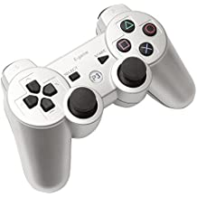 【E-game】 Playstation3 コントローラー ワイヤレス DUALSHOC3 (USB充電 振動対応) クロス & 日本語説明書 & 1年保証付き「シルバー」