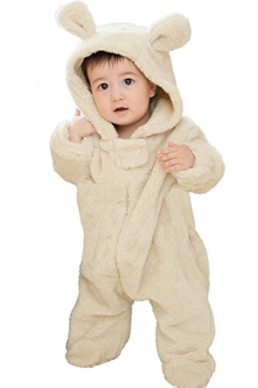 Sweet Mommy くまさんジャンプスーツ マシュマロボア オーガニックコットン ベビー ベージュ 80