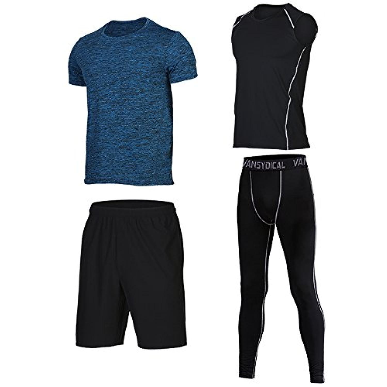 [ShowTime] メンズスポーツウェア, ヨガ?ランニング?フィットネス?トレーニング 吸汗速乾 通気性抜群 体型カバー (2XL, E- 4 Pieces)
