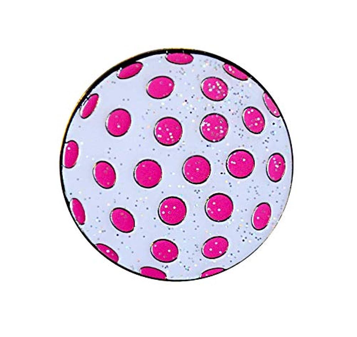 寛大な急速な悲劇Navika Glitzy Polka Dot (ホワイト&ピンク)マーカーwith磁気帽子クリップ