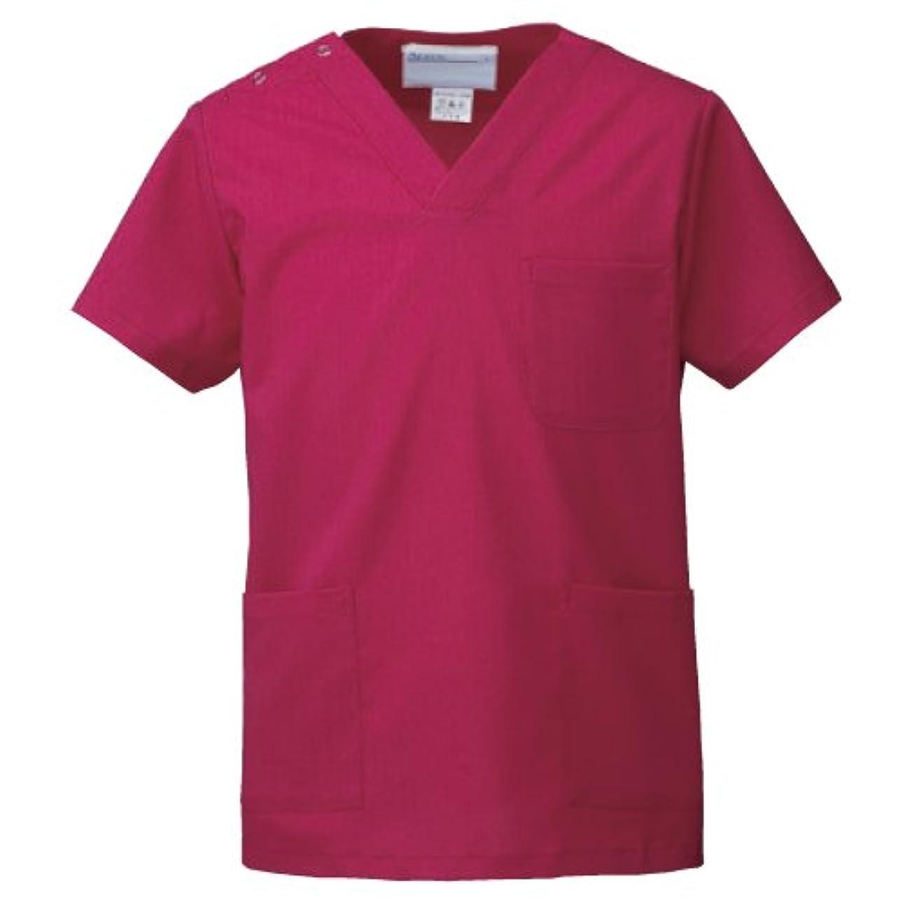 事務所補償教えて医療ユニフォーム 手術衣  スクラブ(男女兼用) KAZEN マゼンタ サイズ:SS  133-93