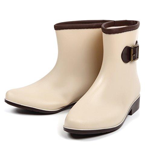ROOM28 金具 バックル 付き ショート ブーツ 型 レイン シューズ ヒール 3cm 雨 長靴 レディース 靴 (37 23.5cm, ライト ベージュ)