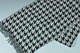 2重ガーゼ織り コットンマフラー <千鳥格子> ブラック 綿100% 約34cm×190cmロングタイプ