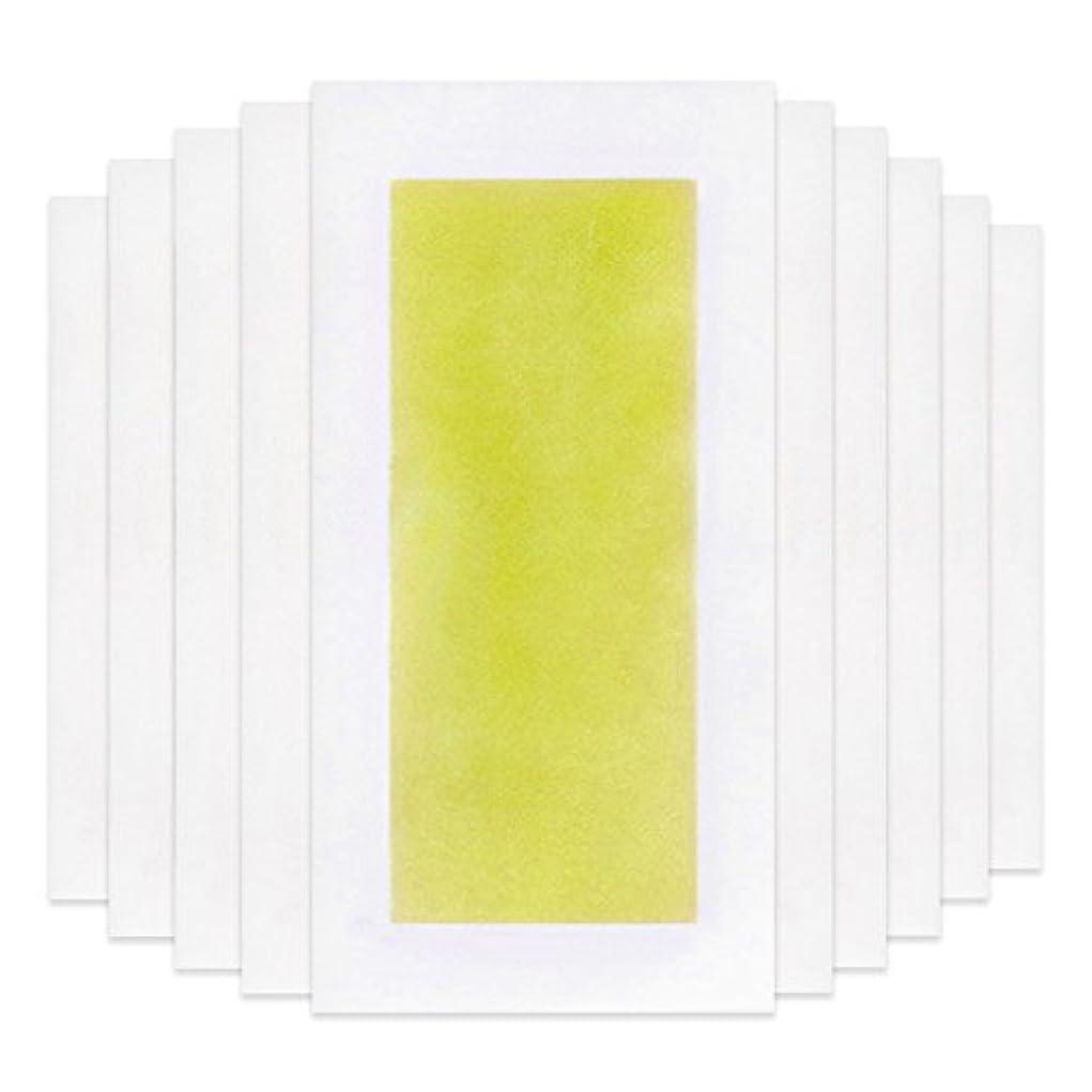 思いつく罪有限Rabugoo 脚の身体の顔のための10個のプロフェッショナルな夏の脱毛ダブルサイドコールドワックスストリップ紙 Yellow