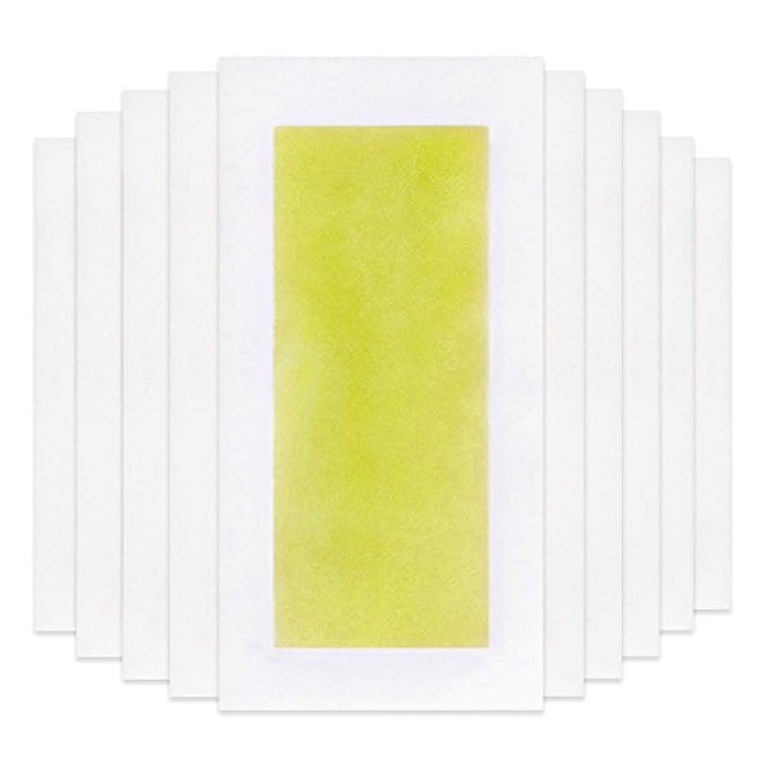 慢性的暴力的な文言Rabugoo 脚の身体の顔のための10個のプロフェッショナルな夏の脱毛ダブルサイドコールドワックスストリップ紙 Yellow