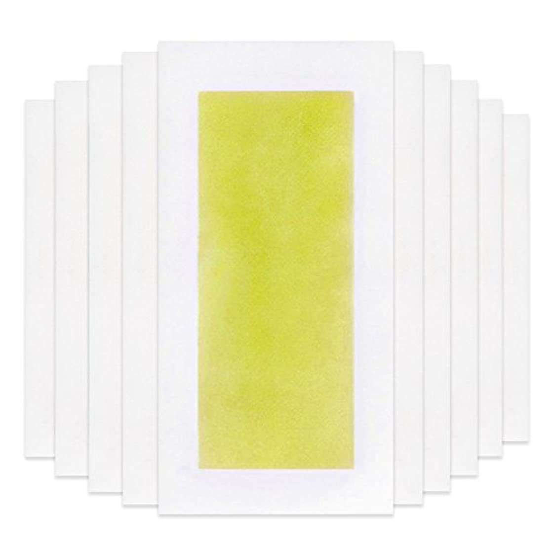 マニアクリープ胚Rabugoo 脚の身体の顔のための10個のプロフェッショナルな夏の脱毛ダブルサイドコールドワックスストリップ紙 Yellow
