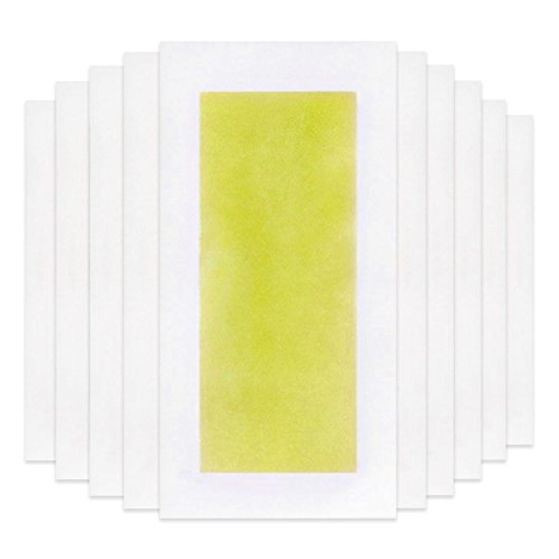のり考える各Rabugoo 脚の身体の顔のための10個のプロフェッショナルな夏の脱毛ダブルサイドコールドワックスストリップ紙 Yellow