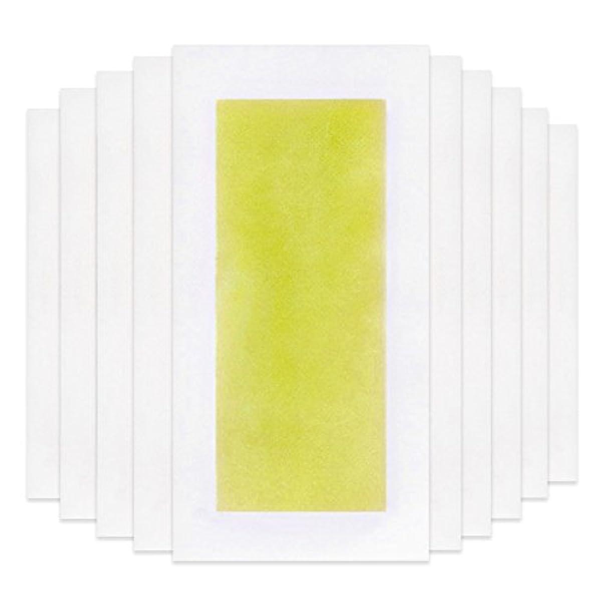 グループ誰が帳面Rabugoo 脚の身体の顔のための10個のプロフェッショナルな夏の脱毛ダブルサイドコールドワックスストリップ紙 Yellow