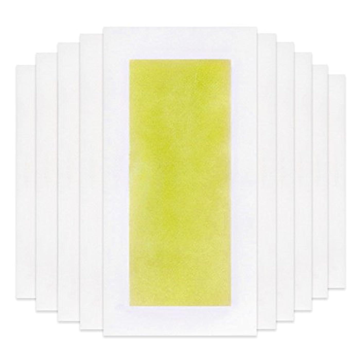 サラダあごひげ本部Rabugoo 脚の身体の顔のための10個のプロフェッショナルな夏の脱毛ダブルサイドコールドワックスストリップ紙 Yellow