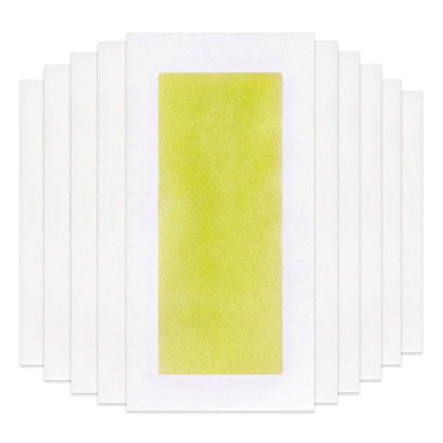超えてモチーフ改修するRabugoo 脚の身体の顔のための10個のプロフェッショナルな夏の脱毛ダブルサイドコールドワックスストリップ紙 Yellow