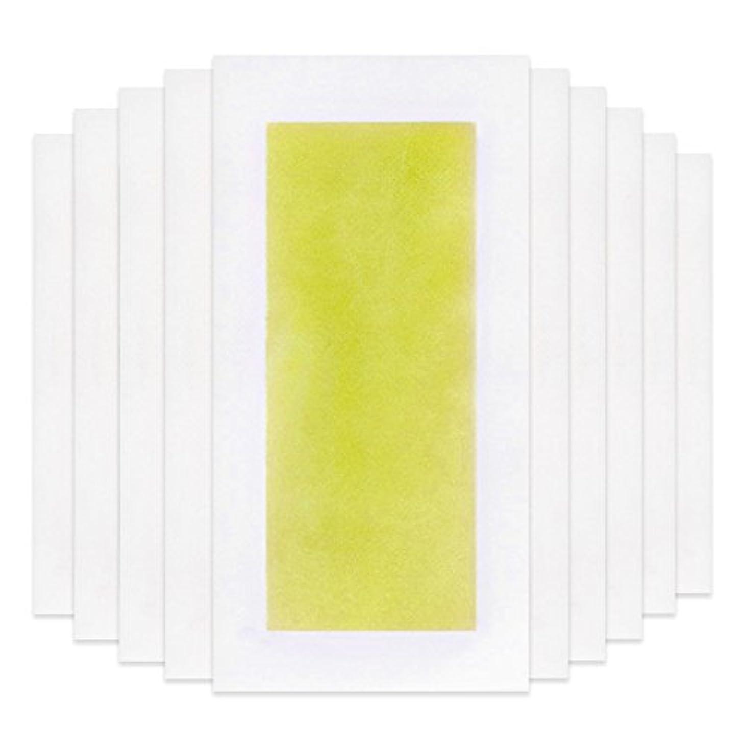 ひどい申し立てる脇にRabugoo 脚の身体の顔のための10個のプロフェッショナルな夏の脱毛ダブルサイドコールドワックスストリップ紙 Yellow