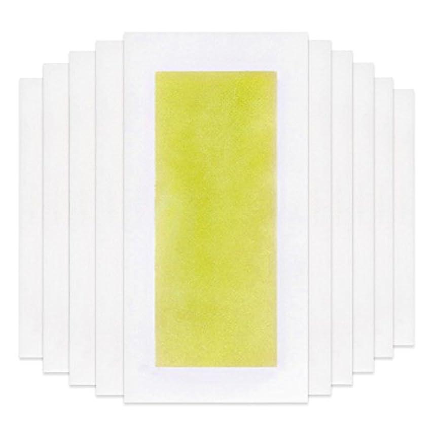 起点豚オーラルRabugoo 脚の身体の顔のための10個のプロフェッショナルな夏の脱毛ダブルサイドコールドワックスストリップ紙 Yellow