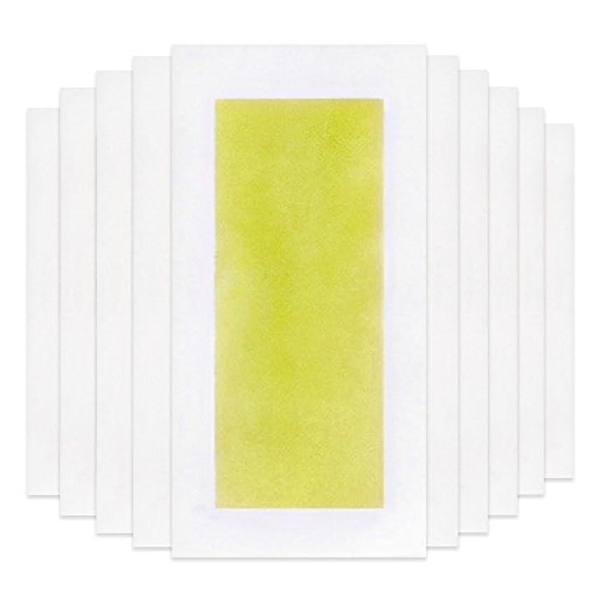 フラフープ出身地休暇Rabugoo 脚の身体の顔のための10個のプロフェッショナルな夏の脱毛ダブルサイドコールドワックスストリップ紙 Yellow